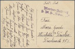 Deutsche Schiffspost - Marine: 1890/1918, Partie Von Ca. 90 Belegen Aus Den Verschiedensten Regionen - Deutschland