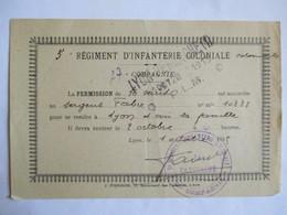 1915 - LYON - Bon De Permission - Cachet 5 ème Régiment D'Infanterie Coloniale / 27 ème Compagnie - TBE - 1914-18