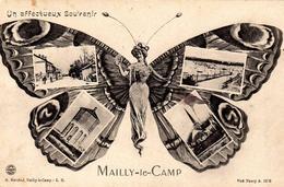 CPA Un Affectueux Souvenir Mailly-le-Camp - G. Marchal - Visé Nancy A. 1678 - Circulée 1918 - La Femme Papillon - Mailly-le-Camp