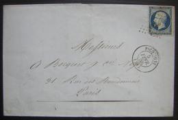 Picquigny (Somme)1856 Pc 2430 , Lettre Des Filatures  D' Ailly (timbre Abimé En Bas à Gauche) - Marcophilie (Lettres)