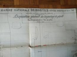 Plan MARINE NATIONALE DEHORTER Contre Torpilleur - ST NAZAIRE 1911 - Tools