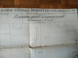 Plan MARINE NATIONALE DEHORTER Contre Torpilleur - ST NAZAIRE 1911 - Machines