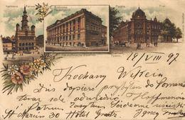 POLSKA - POLAND Postcard - POZNAN - POSEN, Multi-view - 1897 - LITHO - MOONLIGHT - Pologne