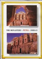 GIORDANIA - PETRA - THE MONASTERY - VIAGGIATA  FRANCOBOLLO ASPORTATO - Jordan