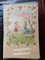 18792) AUGURALE BUONA PASQUA RAGAZZI BALLANO SOTTO PESCO FIORITO NON VIAGGIATA 1939 CIRCA - Pasqua