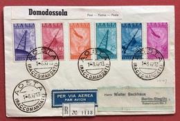 POSTA AEREA CINQUANTENARIO DELLA RADIO LA SERIE SU RACCOMANDATA PAR AVION DA AOSTA A BERLINO VIA DOMODOSSOLA 1/8/47 - 1946-60: Storia Postale