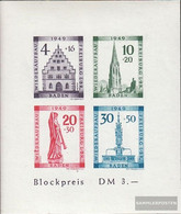 Franz. Zone-Baden Block1b VI (complete Issue) Color About E In Reconstruction At Number. 40 Unmounted Mint / Never Hinge - French Zone