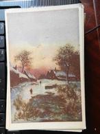 18796) AUGURALE BUON ANNO PAESAGGIO LACUSTRE INVERNALE NON VIAGGIATA 1939 CIRCA LOTTO DI DUE CARTOLINE - Anno Nuovo