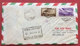 POSTA AEREA DEMOCRATICA L. 25+50 SU AEREOGRAMMA DA ROMA A NEW YORK IN DATA  21/4/47 - 1946-60: Storia Postale