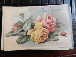 18797) AUGURALE BUON ONOMASTICO MAZZO DI ROSE NON VIAGGIATA 1939 CIRCA - Auguri - Feste
