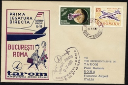 ROMANIA  ITALY 1965 FIRST  FLIGHT BUCURESTI -  ROMA With Air Mail Stamps First Day Cover ROMA AGENCY - FDC