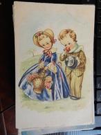 18798) AUGURALE GENERICA COPPIA DI BAMBINI ILLUSTRATORE FORSE MARIA PIA NON VIAGGIATA 1940 CIRCA - Auguri - Feste