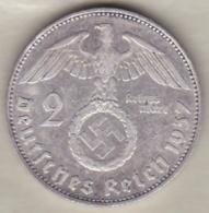2 Reichsmark 1937 E (Muldenhütten) Paul Von Hindenburg, En Argent - 2 Reichsmark