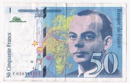 50 Francs St Exupéry 1997 Série Y034544111. - 1992-2000 Ultima Gama