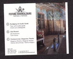 Autriche, Austria, Salzburg, Salzbourg, 2018, Visite Appartements Royaux, Royal Appartments, Forteresse De Hohensalzburg - Biglietti D'ingresso