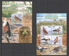 E879 2013 DU NIGER FAUNA BIRDS OF PREY LES OISEAUX DE PROIE 1KB+1BL MNH - Adler & Greifvögel