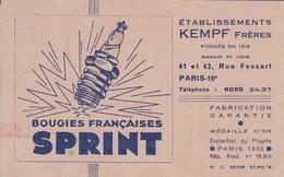 Voitures Motos--PUB---SPRINT-bougies Française--établissements KEMPF Frères PARIS  19è  Rue Fessart--voir 2 Scans - Voitures