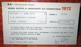 RAI LICENZA GRATUITA DI ABBONAMENTO RADIODIFFUSIONI 1972 - Italia