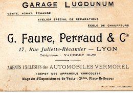 S 1  -  493   -   CARTE  PUBLICITAIRE   LYON    -  ( Rhône )   -           Garage  LUCDUNUM  - - Unclassified