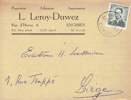 CP Publicitaire ENGHIEN 1959 - L. LEROY-DUWEZ - Imprimerie-Papeterie-Librairie - Edingen
