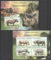 E931 2013 S. TOME E PRINCIPE FAUNA AFRICANA WILD ANIMALS RINOCERONTES KB+BL MNH - Rhinozerosse
