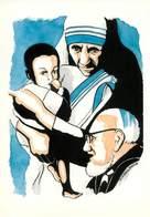 IIlustrateur Ginoux Duvivier - Enghien Les Bains - Religion - L'Abbé Pierre - Mère Teresa -Solidarité- Autographe -Signé - Illustrators & Photographers