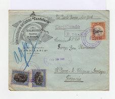 Sur Enveloppe Décorée 2 Timbres Déclaration De L'indépendance Et Un Timbre Un Peso. CAD Xolhuit 1908. (655) - Guatemala