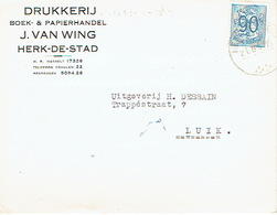 PK Publicitaire HERK-DE-STAD 1952 - J. VAN WING - Drukkerij-boek- & Papierhandel - Herk-de-Stad