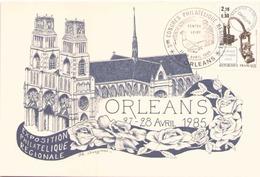 FRANCE ENVELOPPE DU 27 * 28 AVRIL 1985 ORLEANS 3° CONGRES PHILATELIQUE REGIONAL - Marcophilie (Lettres)