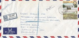 Mauritius 1985 Port Louis Alliance Francaise Building Race Course Registered Cover - Mauritius (1968-...)