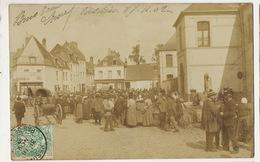 Hesdin Carte Photo Marché  Envoi à Villers Farlay Jura 1902 - Hesdin