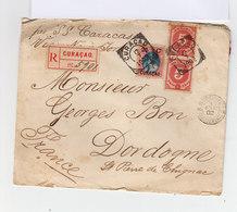Sur Enveloppe Recommandée Trois Timbres Dont Un Surchargé 25 Ct. Oblitération Carré Curaçao 1902. (681) - Curaçao, Antilles Neérlandaises, Aruba