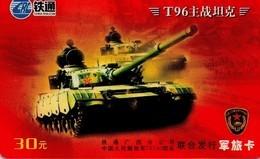 TARJETA TELEFONICA DE CHINA. T96 - TANQUE - WAR TANK (074) (2 PHOTOS) - Armada