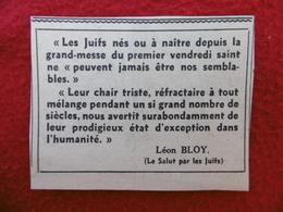 WW2 LES JUIFS NÉS OU A NAÎTRE DEPUIS LA GRAND MESSE LEON BLOY COUPURE JOURNAL - Historical Documents