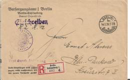 Republik XX031 / (1924-1932) ,  Versorgungsamt Berlin. Frei Durch Ablósuung Reich, Einschreiben 4.3.24, Berlin-Schöneber - Briefe U. Dokumente