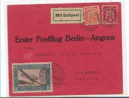 Republik XX032 / (1924-1932) ,  Junker Postflug, Berlin-Angora (Türkei) 5.7.24 Mit Flugmarke Mi.Nr. 12 - Briefe U. Dokumente