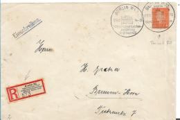 Republik XX033 / (1924-1932) ,  IPOSTA Ganzsache 12.9.30, Berlin-Bremen-Horn Mit Sonder-R-Zettel +Ausstellungsstempel - Briefe U. Dokumente