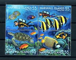 A20066)Marshall-Inseln 570 - 573 VB**, Fische - Marshall