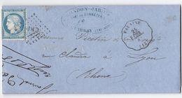 N°60 C Sur Lettre De Guibray TAD CONVOYEUR STATION Falaise Vers Lyon 21 Février 1875 - 1849-1876: Période Classique
