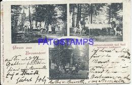 99906 GERMANY GRUSS AUS BRAUNSDORF GARDEN RESTAURANT MULTI VIEW YEAR 1903 CANCEL AMBULANT EGYPT POSTAL POSTCARD - Unclassified