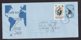 South Georgia: Stationery Aerogramme To USA, Extra Stamp Falkland Islands Dependencies, Map, Lady Diana (traces Of Use) - Groot-Brittannië (oude Kolonies En Protectoraten)