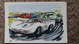 CPSM LE MANS CIRCUIT DES 24 HEURES LUTTE POUR LA VICTOIRE MUTUELLE DU MANS FLAMME SEPT 1968 DESSINEE AIDE - Le Mans