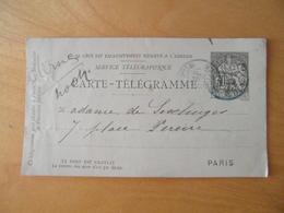 CACHET TELEGRAPHE BLEU PARIS RUE D'ENGHIEN Sur PNEUMATIQUE CARTE-TELEGRAMME TYPE CHAPLAIN 30c - Pneumatiques