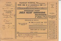 MONEY ORDER FOR MAGAZINE SUBSCRIPTION FEE, 1930, ROMANIA - 1918-1948 Ferdinand, Carol II. & Mihai I.