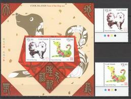 QQ335 2018 COOK ISLANDS ASTROLOGY YEAR OF THE DOG ANIMALS & FAUNA 1SET+1BL MNH - Astrologie