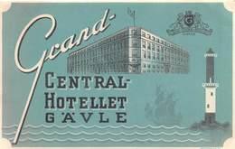 "D8532 "" GRAND - CENTRAL - HOTELLET  GAVLE"" ETICHETTA ORIGINALE - ORIGINAL LABEL - Adesivi Di Alberghi"