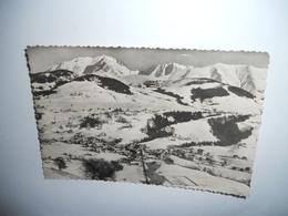 74 HAUTE SAVOIE CARTE ANCIENNE EN N/BL GAUFRE DE 1959 MEGEVE  ET LE MONT BLANC EDIT CELLARD - Megève
