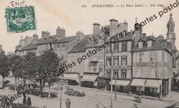 """CPA [50] Manche > Avranches - La Place Littré - Animée - Enseigne """"Au Rocher De Cancale"""" - Rare - Avranches"""