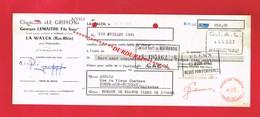 1 Lettre De Change & LA WALCK Près Plaffenhoffen Bas Rhin G LEMAITRE  Chaussures LE GRIFFON - Bills Of Exchange