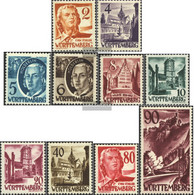 Franz. Zone-Württemberg 28-37 (complete Issue) Unmounted Mint / Never Hinged 1948 Clear Brands - French Zone